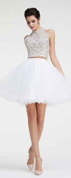 Two piece prom dresses halter white short prom dresses crystals and beaded sparkly prom dresses homecoming dresses