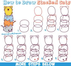 How to Draw Cute Kawaii Cats Stacked on Top of Each Other - Easy Step by Step Drawing Tutorial for Kids
