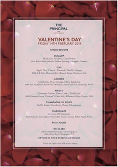 The Principal Valentine's Day Menu | Reserve a table at http://chope.com.hk/categories/restaurant/the-principal