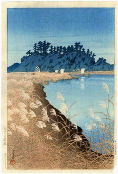 Kawase Hasui: Late Autumn at Ichikawa — 市川の晩秋 - 1930