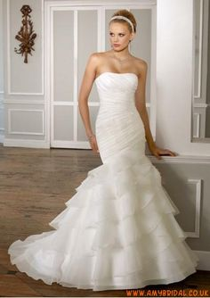 Organza Strapless Straight Neckline with Rouched Bodice and Trumpet Ruffles Layers Skirt 2011 Elegant Wedding Dress WL-0171