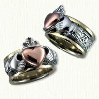 Tri-tone Claddagh: I really like how unique this is, & that the heart is rose gold. Seems too costumey to be my wedding ring, though.