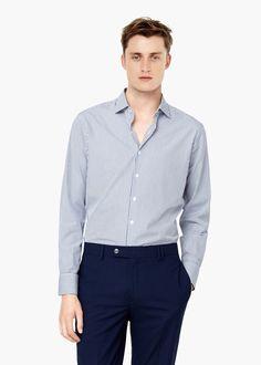 Chemise tailored slim-fit à rayures bicolores - Chemises pour Homme | MANGO