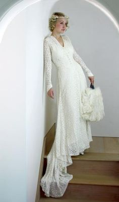 Late 1930s Early 1940s Ivory Lace Vintage Wedding Dress Deep V Long Sleeves with Point Button Detaill Train S, Dresses, Vintage Wedding, Web Shop, £975.00, Mela Mela Vintage