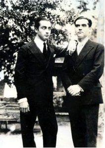 Emilio Aladrén con 22 años y Federico García Lorca con 30, en 1928.