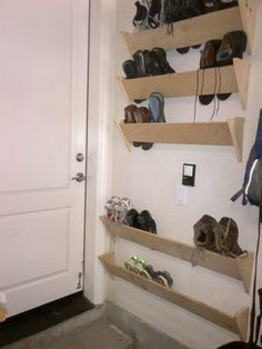 Amazing Garage Shoe Storage Ideas # 13 Homemade Shoe Rack – Lorena Flores Escoto – # Amazing - All About Gardens Homemade Shoe Rack, Homemade Shoes, Diy Shoe Rack, Shoe Racks, Diy Shoe Organizer, Wall Shoe Rack, Shoe Rack Closet, Shoe Rack For Stairs, Room Closet