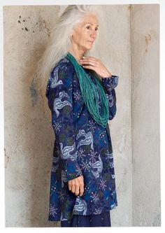"""""""Kvittra"""" tunic in modal – {{p_2014_christmas_birdsong_title}} – GUDRUN SJÖDÉN – Webshop, mail order and boutiques   Colorful clothes and home textiles in natural materials."""