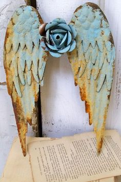 Metal angel wings wall sculpture shabby chic by AnitaSperoDesign,