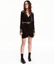 Velour Dress with Lace | Black | Ladies | H&M US