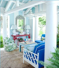 colours #home #blue #white #sunshine #mirrors #lights #flora Chinoiserie Chic, Casa Linda, Beach House, Beach Villa, Blue Walls, Striped Walls, White Walls, Sunrooms, Colorful Rooms