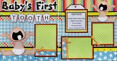 BABY 1st  TOOTH ~ 2 premade scrapbook pages paper piecing layout 4 album CHERRY