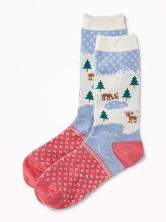 Go-Warm Fair Isle Crew Socks for Women