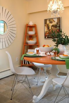 Dining room furniture ideas standing corner shelf orange table white chairs