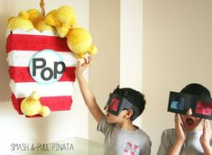 Custom Pinata   Giant Popcorn Box! Movie Prop   Carnival Theme   Circus Party   Modern Festive Party Goods by Smash & Pull Pinata