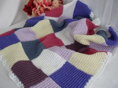 Knitted Patchwork Lap Blanket Quilt
