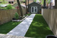 Fake grass, artificial grass, astroturf in our shady narrow backyard Synthetic Turf Depot No Grass Backyard, Backyard Privacy, Backyard Landscaping, Backyard Ideas, Patio Ideas, Outdoor Ideas, Landscaping Ideas, Outdoor Spaces, Fake Grass