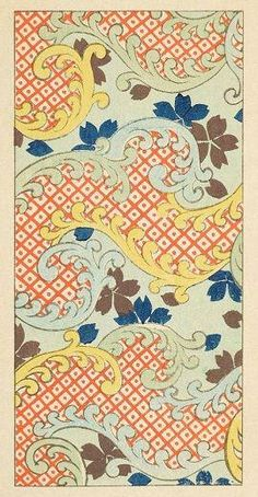 Japanese patterns from the turn of the century. Check these out for their lovely colors. Japanese Textiles, Japanese Patterns, Japanese Prints, Japanese Design, Japanese Paper, Japanese Fabric, Textile Patterns, Print Patterns, Floral Patterns