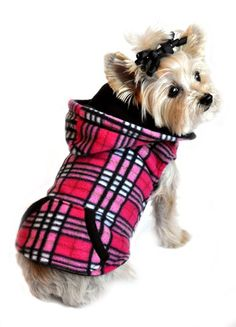 Raspberry Plaid Reversible Dog Hoodie http://www.doggieclothesline.com/sweatshirts