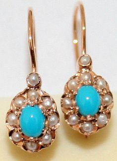 VINTAGE 9K ROSE GOLD TURQUOISE PEARL OVAL FLOWER LACE BEAUTIFUL FINE EARRINGS