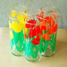 Vintage Tulip Glasses - Red, Yellow, Orange Flowers Floral Highball Tumblers.