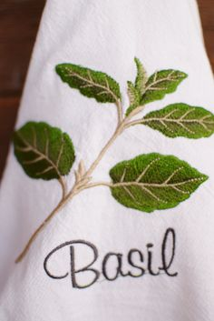 Tea Towel Embroidered with Basil Motif.   By NestingInstinctShop@etsy.com  $10.00  See other herb towels in our shop.  Buy 2 and shipping is free!