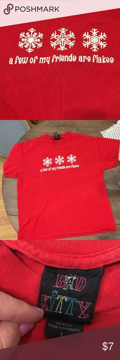 Holiday shirt Cute holiday shirt, short sleeves. Has a small pin hole on lower part of shirt. bad kitty Tops Tees - Short Sleeve