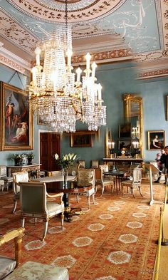 Drawing Room at Attingham Park, Shropshire, England. The room was designed in the 1780s;  the blue colour scheme was introduced in the early nineteenth century. <> (to the manor born, decor)