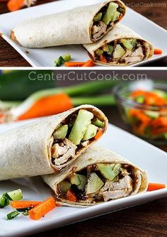 A delightfully CRUNCHY WRAP with spicy PEANUT SAUCE, juicy CHICKEN, and a cucumber/carrot/cilantro salad.