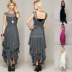 Bohemian-Hippie-Boho-Gypsy-Festival-French-Court-Sheer-Lace-Slip-Wedding-Dress