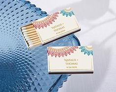 Personalized White Matchboxes - Indian Jewel (Set of Get ready to say I do to these match-made-in-heaven matchbox favors from Kate Aspen! Indian Wedding Favors, Homemade Wedding Favors, Inexpensive Wedding Favors, Unique Wedding Favors, Wedding Party Favors, Bridal Shower Favors, Floral Wedding Invitations, Indian Bridal, Wedding Decorations