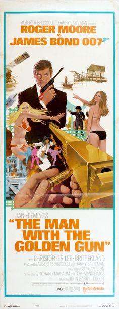 James Bond The Man with the Golden Gun Insert, 1974 - original vintage cinema poster by Robert McGinnis for the James Bond movie The Man with the Golden Gun starring Roger Moore as James Bond agent 007, Christopher Lee and Britt Ekland listed on AntikBar.co.uk