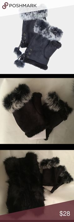 Fingerless gloves So cute with adjustable ties. Super soft on the inside. Looks perfect with the faux fur infinity scarf sold separately. Accessories Gloves & Mittens