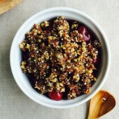 Raw Vegan Cherry Cobbler with Walnut, Date and Chia Crumble Topping