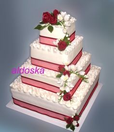Wedding cake with roses and freesia By aldoska on CakeCentral.com