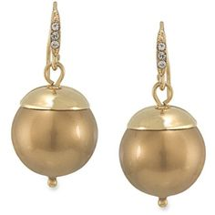 Carolee Gold Cosmic Reflections Gold Pearl Drop Pierced Earringsbr ($32) ❤ liked on Polyvore featuring jewelry, earrings, gold, gold jewellery, gold jewelry, gold earrings, earring jewelry and galaxy earrings