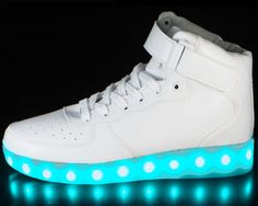 High Top White LED Shoes