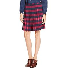 Tommy Hilfiger women's skirt. One of our favorites-the pleated skirt in a buffalo plaid. Besides the unique hue we love the way it fans out when you walk.<br>• Classic fit, approximately 21'' from shoulder to hem.<br>• 95% synthetic, 5% elastane.<br>• Side zip.<br>• Machine washable.<br>• Imported.<br>