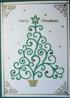 Card made using Christmas Tree die.