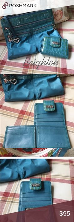 "Brighton Cross-body/ messenger purse Beautiful. Teal blue nylon and leather Crossbody purse with matching leather mini wallet.  All are in EUC. Purse does have a small faded ink stain close to the bottom of the purse (pic #3) barely noticeable. Lining  is pristine and a beautiful bright flower pattern. Beautiful silver hardware. Very roomy with  2 zipper pockets on front as well as additional pockets on the inside.  Adjustable strap 24-36"" Brighton Bags Crossbody Bags"