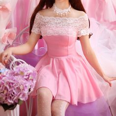 www.sanrense.com - Sweet lace dew shoulder dress SE8166