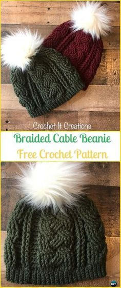 Crochet Braided Cable Beanie Hat Free Pattern - Crochet Cable Hat Free Patterns