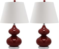 Set of Two Eva Double Gourd Glass Lamps in Chinese Red design by Safavieh