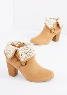 Tan Fold-Over Crochet Bootie | rue21