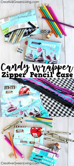 Favorite Sewing Projects I love this tutorial for an upcycled zipper pouch. It's such a clever way to recycle a candy wrapper and nobody else will have a pencil pouch like it! (would work great as a unique make up bag, too! Diy Sewing Projects, Sewing Tutorials, Sewing Crafts, Sewing Patterns, Upcycling Projects, Sewing Ideas, Bag Patterns, Sewing Hacks, Craft Projects