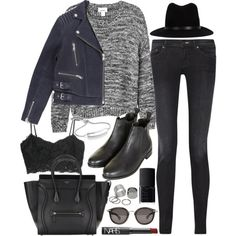 Outfit for winter with chelsea boots by ferned on Polyvore featuring Monki, MANGO, The Kooples, Acne Studios, Topshop, Pieces, Monica Vinader, rag & bone, Moncler and NARS Cosmetics