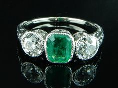 Ferro Jewelers - Estate Jewelry | Art Deco Emerald and Old European Cut Diamond Ring