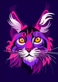 Animal poster prints by Cholik Hamka Art And Illustration, Illustrations, Lion King Poster, Tiger Poster, Arte Pop, Linocut Prints, Poster Prints, Lion Painting, Modern Pop Art