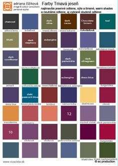 Deep Autumn colour palette. shades n.1 to face -  trouses, skirts, coats., cardigans, blazers...Make your dressing easy! This color type is former type of my 12 seasonal system since 2003 ( Dark Autumn, Light Autumn/Soft Autumn, Bright Autumn).