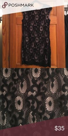 Black lace dress Relived black lace dress with beige slip underneath. Size zero. Worn twice. No rips stains or holes. Smoke free home. Bundling available. LOFT Dresses Midi
