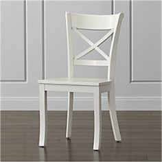 Shop Vintner White Wood Dining Chair and Cushion. Make your Vintner side chair even comfier with the addition of our optional cotton cushion with tie attachments. The Vintner White Side Chair is a Crate and Barrel exclusive. White Wood Dining Chairs, Farmhouse Chairs, Modern Dining Chairs, Kitchen Chairs, Dining Room Chairs, Dining Furniture, Custom Furniture, Side Chairs, House Furniture